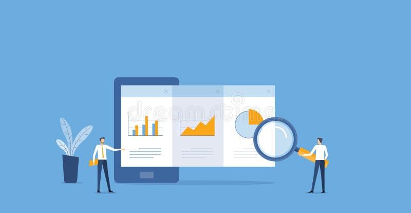Vlakke bedrijfsanalytics en van controlefinanciën rapportgrafiek op mobiel vector illustratie