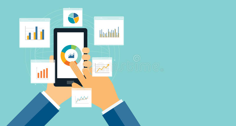 Vlakke bedrijfsanalyticsgrafiek op mobiel apparaat vector illustratie