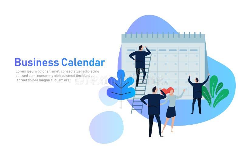Vlakke Bedrijfsmensen die en Verrichtingskalender plannen plannen Bedrijfsverrichtingen die en Concept plannen plannen stock illustratie