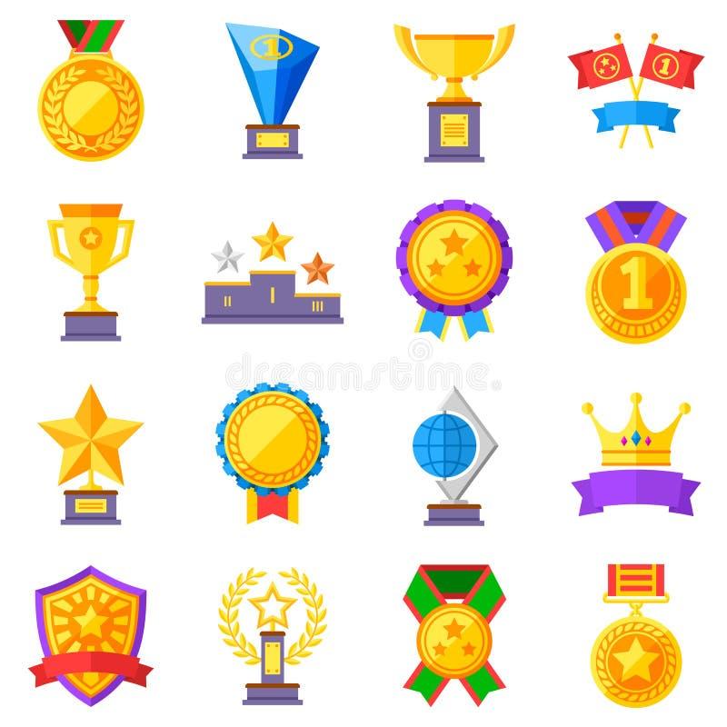 Vlakke beloningen vectorpictogrammen Gouden koppen, medailles en kronenpictogrammen royalty-vrije illustratie