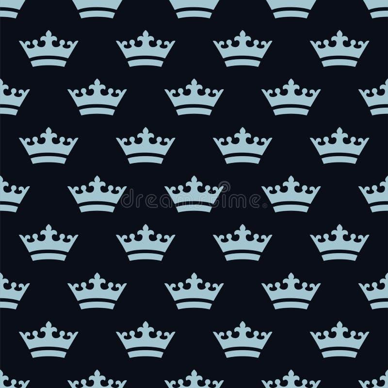 Vlakke blauwe kronen Naadloos patroon royalty-vrije stock fotografie