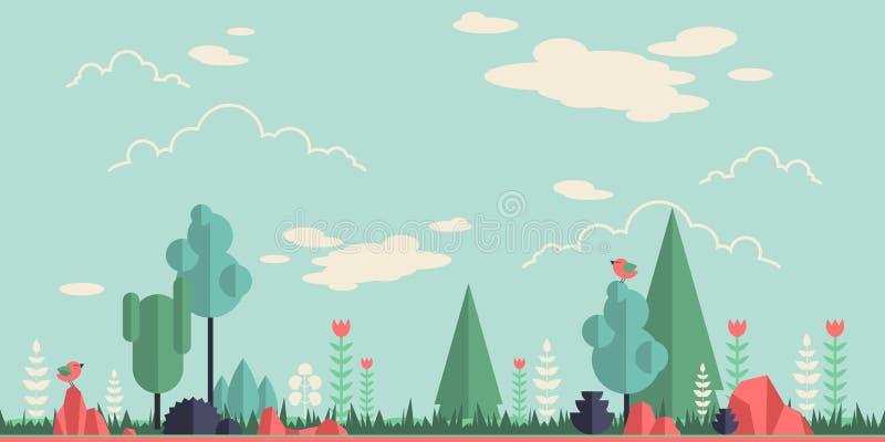 Vlakke bosachtergrond royalty-vrije illustratie