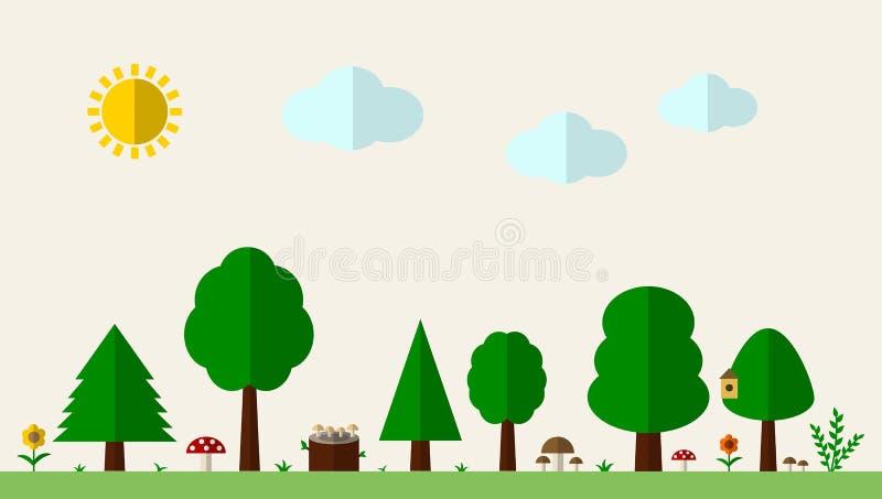 Vlakke bosachtergrond met bomen, gras en paddestoelen vector illustratie