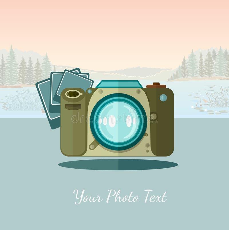 Vlakke camera als achtergrond met foto op landschapsachtergrond vector illustratie