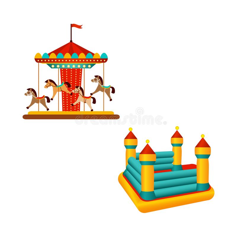 Vlakke carrouselrit en opblaasbaar bouncykasteel stock illustratie