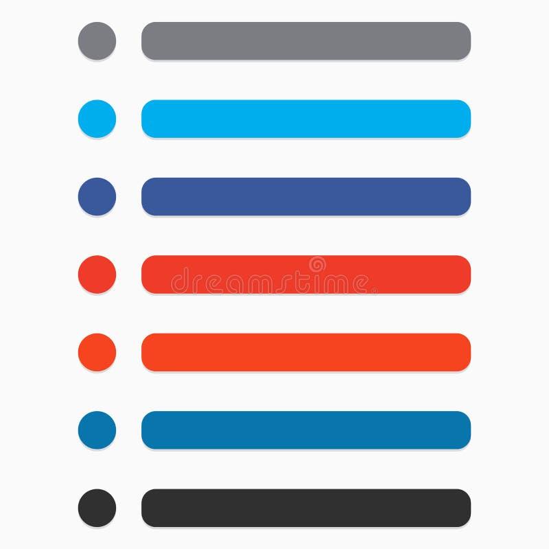 Vlakke cirkel en rechthoekknoop die met moderne kleur wordt geplaatst UI, GUI royalty-vrije illustratie