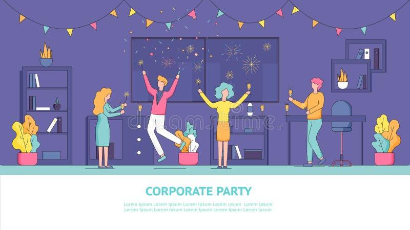 Vlakke Collectieve de Partijwerknemer van de Bannerillustratie stock illustratie