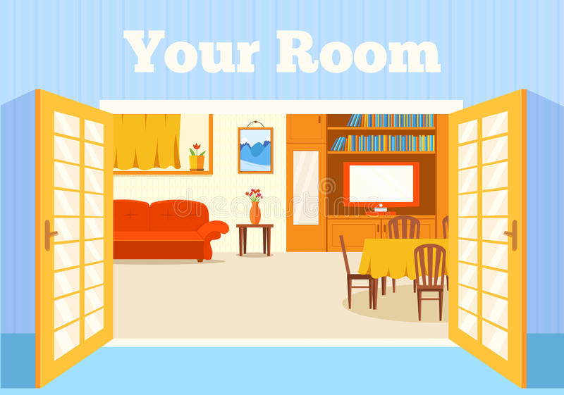 Vlakke comfortabele ruimte binnenshuis met open deurenachtergrond vector illustratie