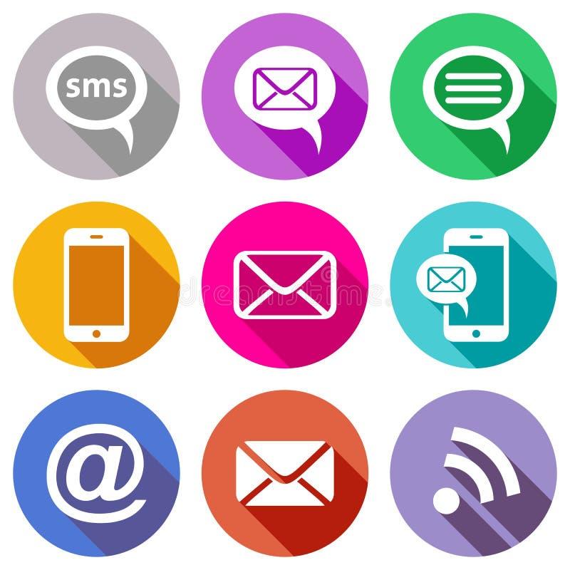 Vlakke communicatie pictogrammen stock illustratie