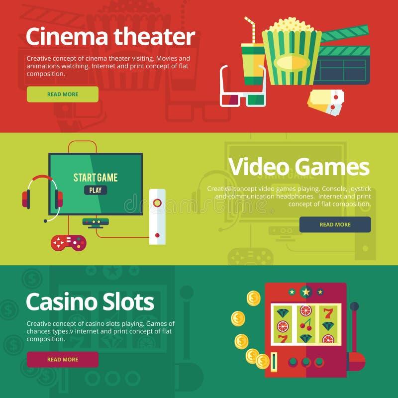 Vlakke concepten voor bioskooptheater, videospelletjes, casinogroeven royalty-vrije illustratie