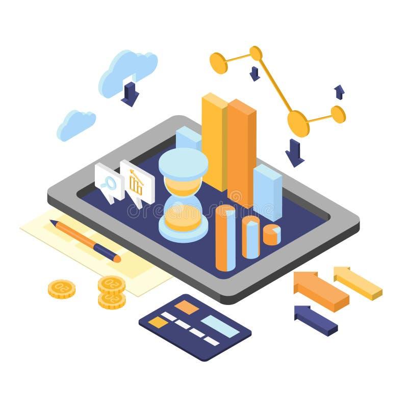 Vlakke 3d Isometrische Bedrijfsfinanciën Analytics stock illustratie