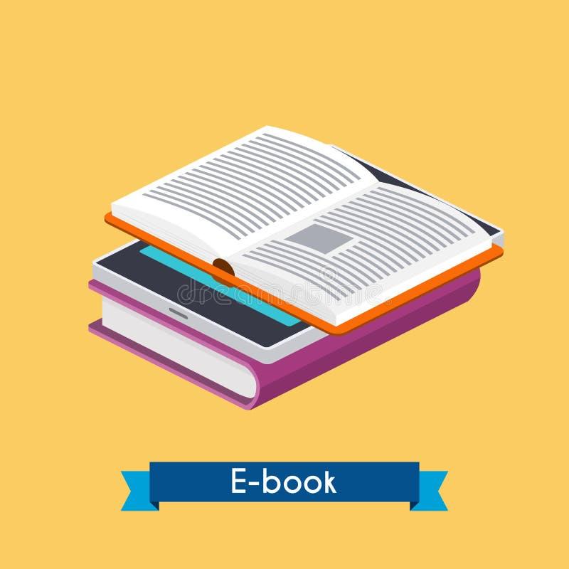 Vlakke 3d isometrische eBooklezer en boeken Online lezing E-Lea vector illustratie