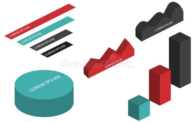 Vlakke 3d isometrische infographic stock illustratie