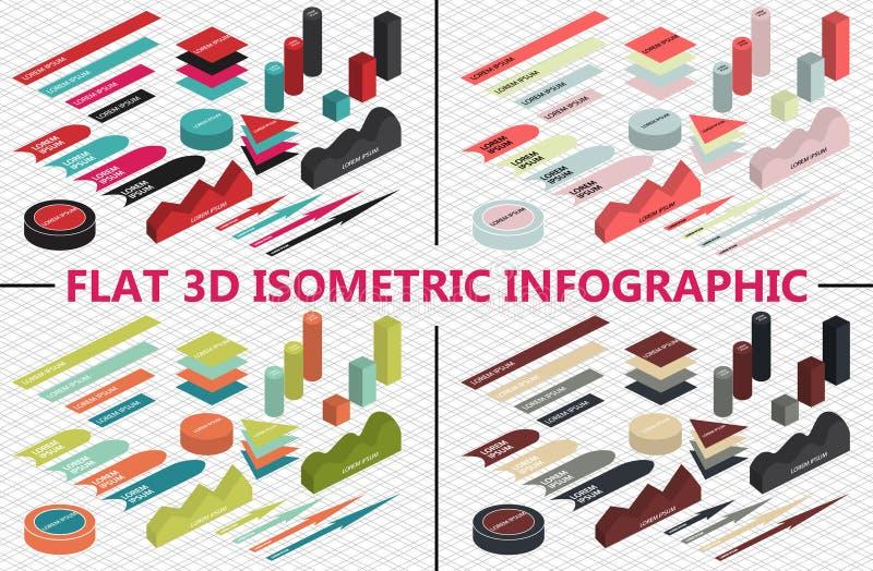 Vlakke 3d isometrische infographic reeks vector illustratie