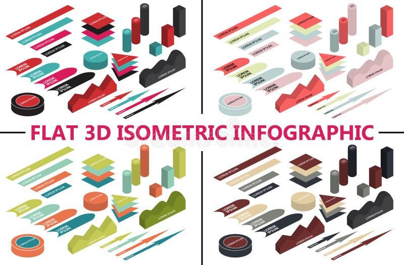 Vlakke 3d isometrische infographic voor uw bedrijfspresentaties Kleurrijke pictogrammen 4 kleurenthema's royalty-vrije illustratie
