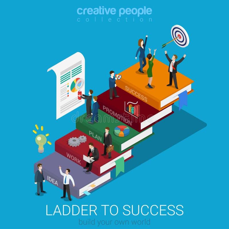Vlakke 3d isometrische ladder aan succes die op de markt brengen: boekbevordering royalty-vrije illustratie
