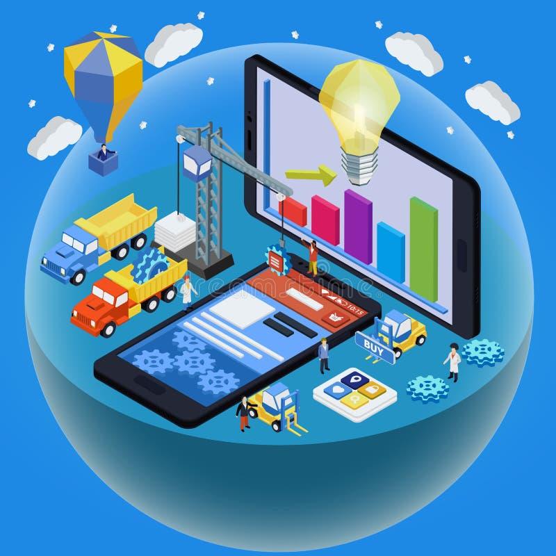 Vlakke 3d isometrische mobiele infographic het conceptenvector van het ontwerpweb stock illustratie
