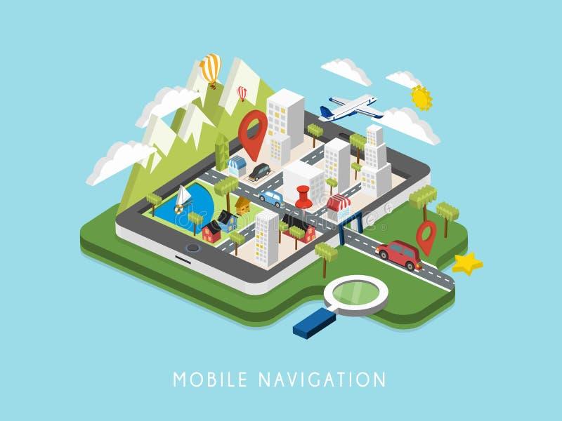 Vlakke 3d isometrische mobiele navigatieillustratie stock illustratie