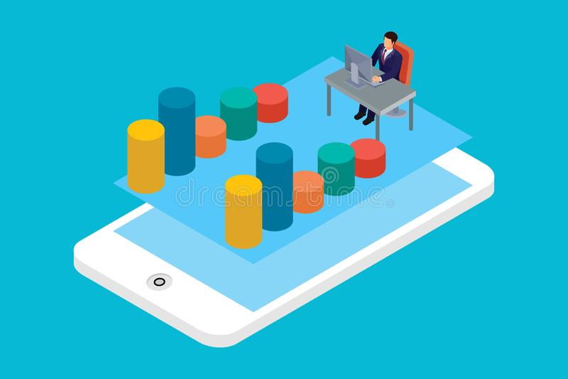 Vlakke 3d isometrische mobiele toepassing, bedrijfsanalytics, financiënanalyse app, verkoopstatistieken, monetaire concepten info stock illustratie
