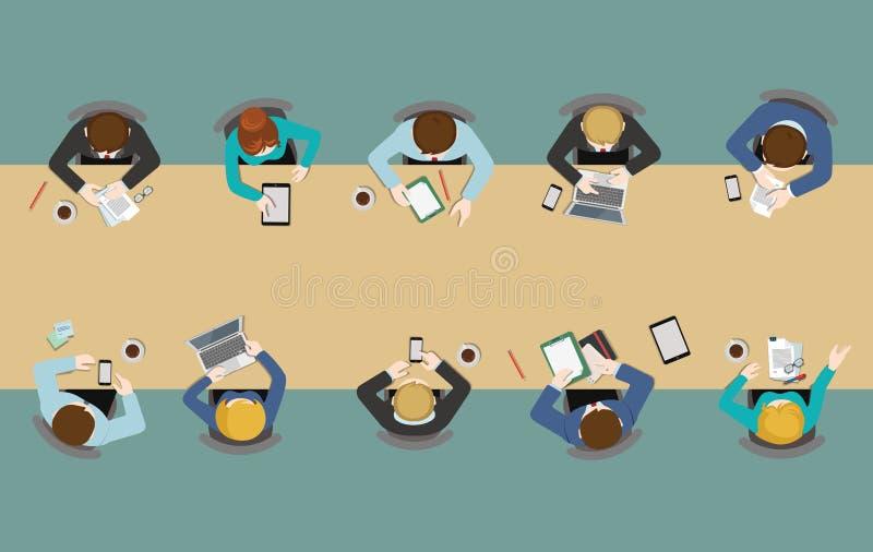 Vlakke de bovenkantmening van de bureaulijst: vergaderingen, rapport, uitwisseling van ideeën, personeel stock illustratie