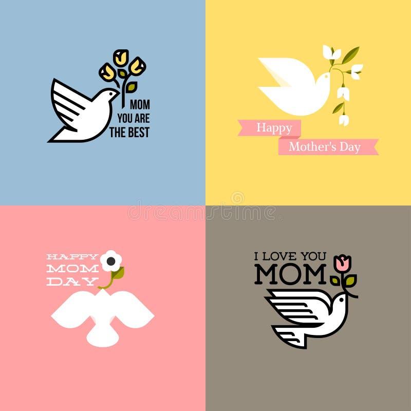 Vlakke de dagkaarten van stijl gelukkige moeders met duif, de lentebloemen royalty-vrije illustratie