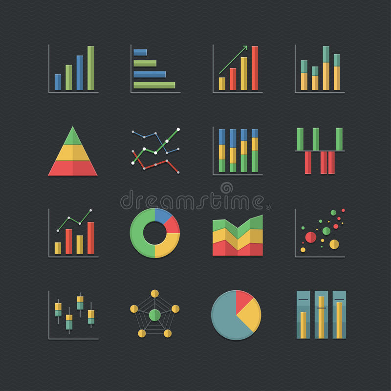 Vlakke de Grafiek en de Grafiek geplaatste pictogrammen van de kleurenstijl vector illustratie