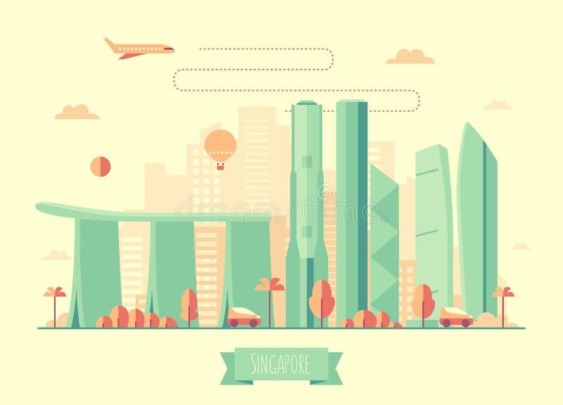 Vlakke de illustratie van de de horizonarchitectuur van Singapore vector illustratie