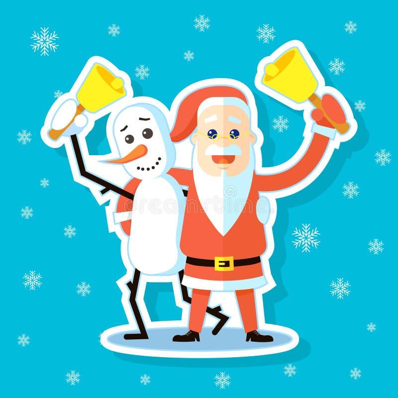 Vlakke de kunstillustratie van de beeldverhaalsticker van Sneeuwman met Santa Claus-het koesteren royalty-vrije illustratie