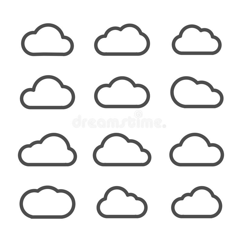Vlakke de lijn vastgestelde zwarte van wolkenpictogrammen op witte achtergrond stock illustratie
