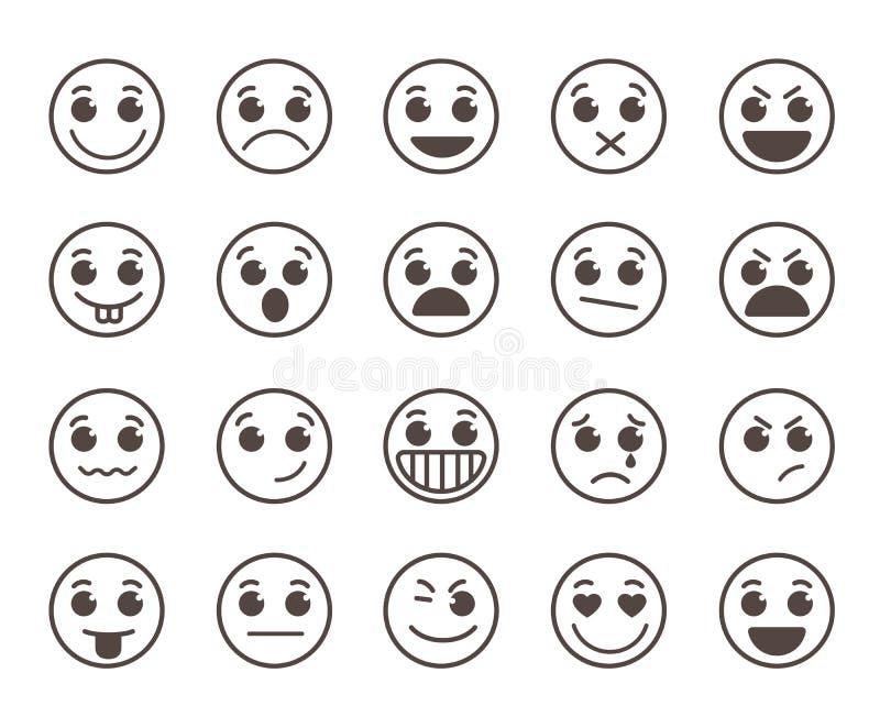 Vlakke de lijn vectordiepictogrammen van het Smileygezicht met grappige gelaatsuitdrukkingen worden geplaatst stock illustratie