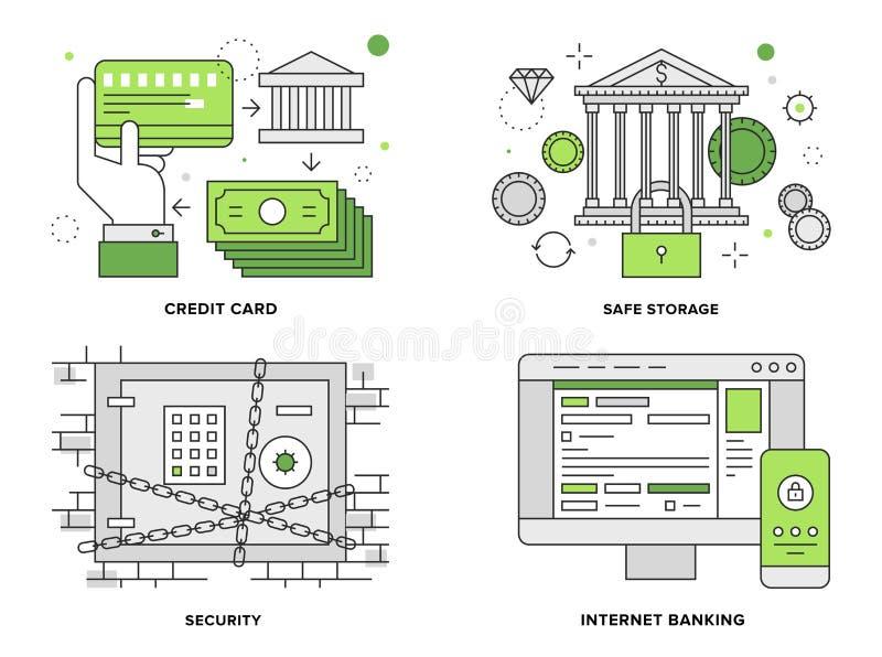 Vlakke de lijnillustratie van de bankwezenveiligheid stock illustratie