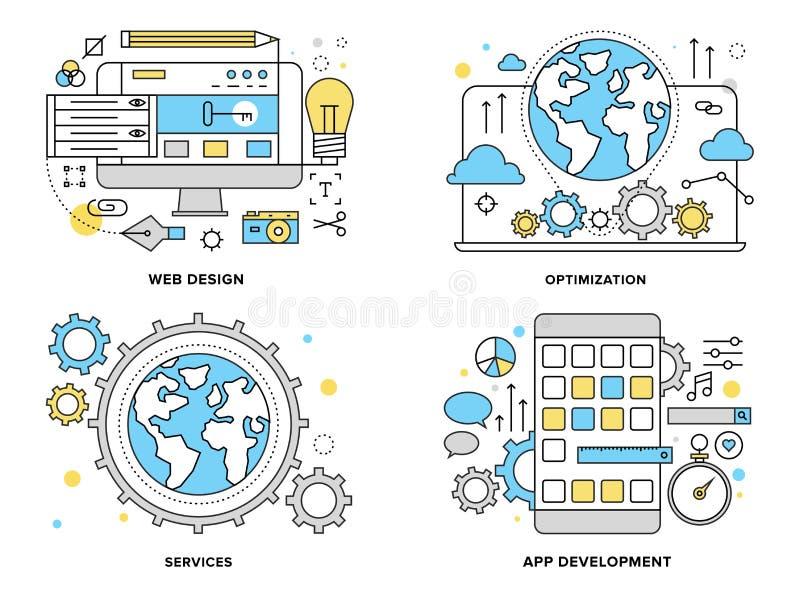 Vlakke de lijnillustratie van de Webdiensten vector illustratie