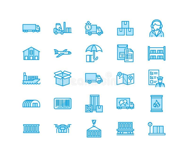 Vlakke de lijnpictogrammen die van het ladingsvervoer, uitdrukkelijke levering, logistiek, het verschepen, inklaring, pakket ruil vector illustratie