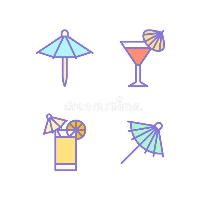 Vlakke de lijnpictogrammen van de cocktailparaplu De koude illustraties van de zomerdranken, tequilazonsopgang, kosmopolitische a stock illustratie