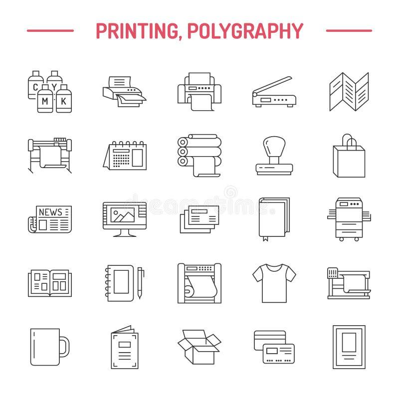 Vlakke de lijnpictogrammen van het drukhuis Het materiaal van de drukwinkel - printer, scanner, gecompenseerde machine, plotter,  stock illustratie