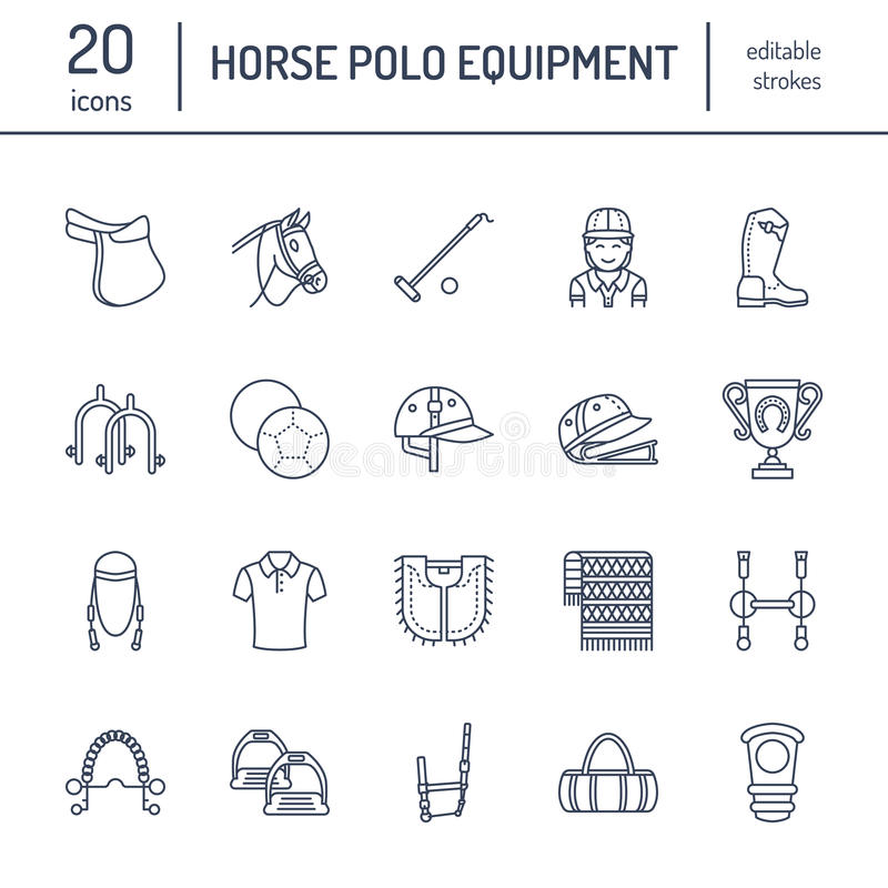 Vlakke de lijnpictogrammen van het paardpolo Vectorillustratie van het spel van de paardensport, ruitermateriaal - zadel, leerlaa vector illustratie