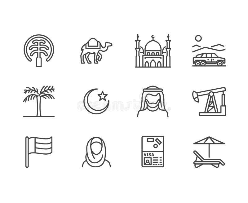 Vlakke de lijnpictogrammen van de V.A.E De Arabische vlag van emiraten, Doubai, islam moskee, verlaat offroad auto, moslimmensen, vector illustratie