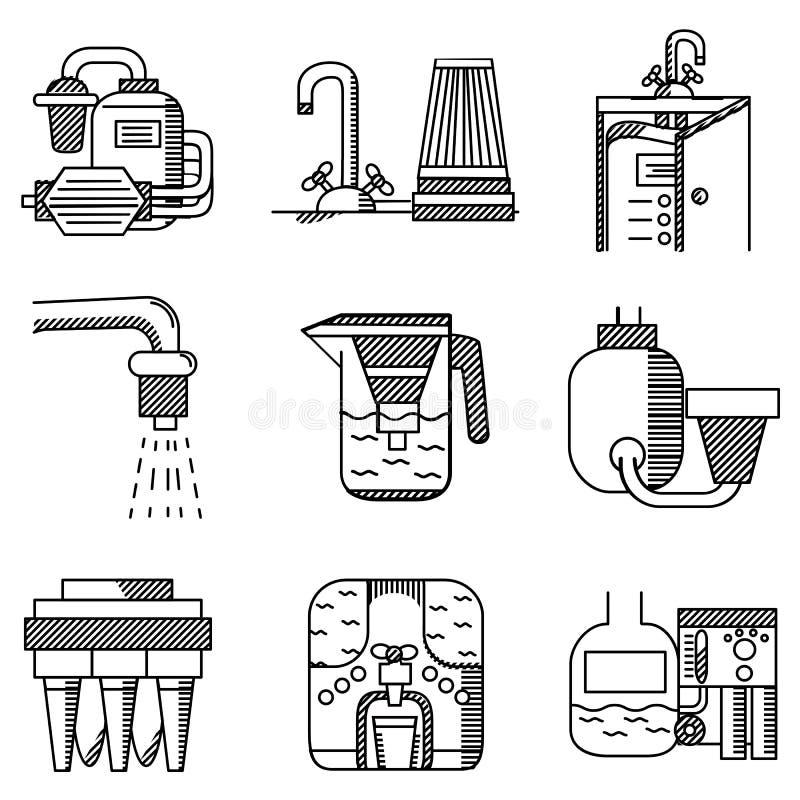 Vlakke de lijnpictogrammen van waterfilters vector illustratie