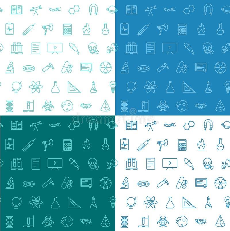 Vlakke de lijnreeks van het wetenschaps ison naadloze patroon van blauw wit 4 stock afbeeldingen