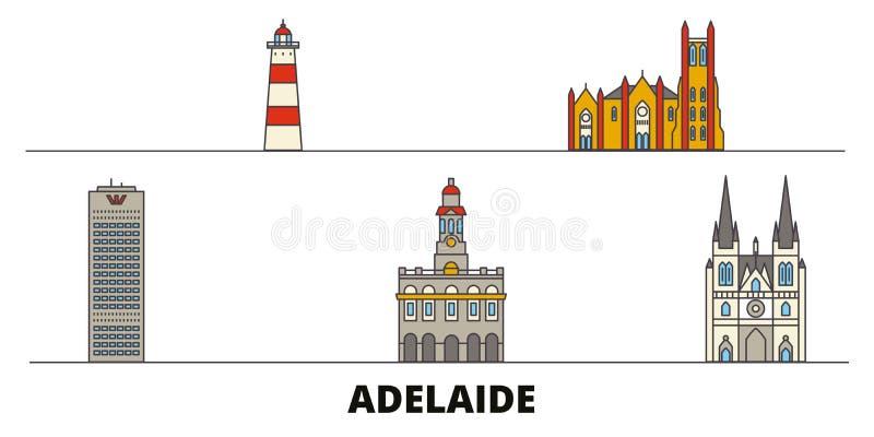 Vlakke de oriëntatiepunten vectorillustratie van Australië, Adelaide De lijnstad van Australië, Adelaide met beroemde reisgezicht stock illustratie
