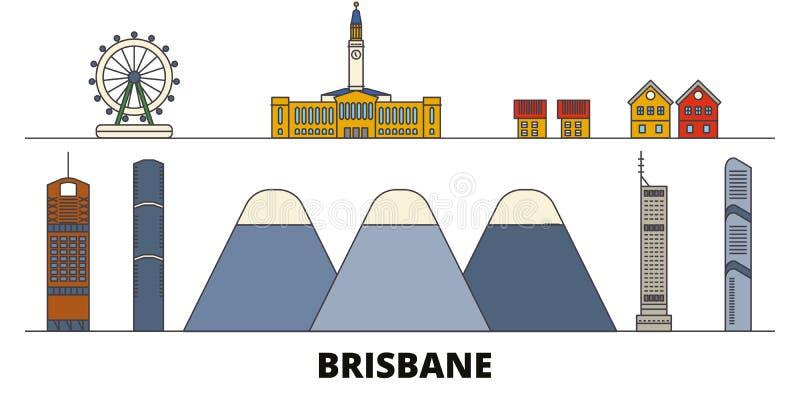 Vlakke de oriëntatiepunten vectorillustratie van Australië, Brisbane De lijnstad van Australië, Brisbane met beroemde reisgezicht royalty-vrije illustratie