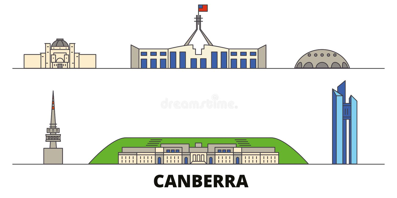 Vlakke de oriëntatiepunten vectorillustratie van Australië, Canberra De lijnstad van Australië, Canberra met beroemde reisgezicht vector illustratie