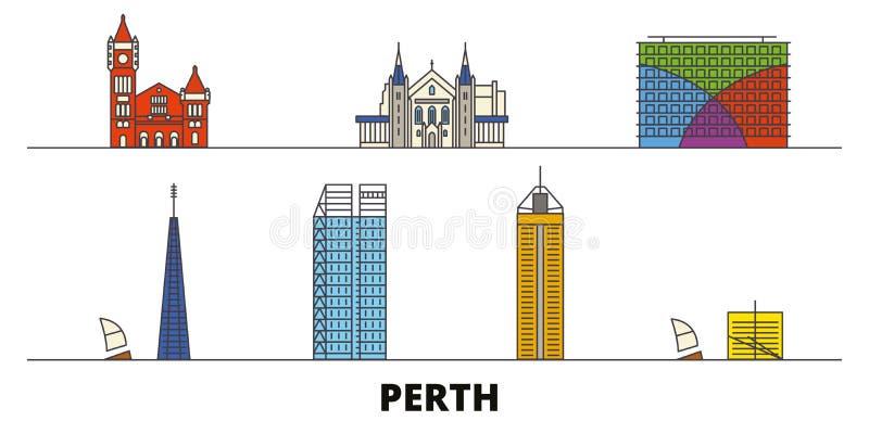 Vlakke de oriëntatiepunten vectorillustratie van Australië, Perth De lijnstad van Australië, Perth met beroemde reisgezichten, ho royalty-vrije illustratie