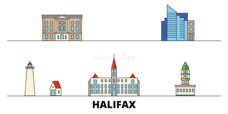 Vlakke de oriëntatiepunten vectorillustratie van Canada, Halifax De lijnstad van Canada, Halifax met beroemde reisgezichten, hori stock illustratie