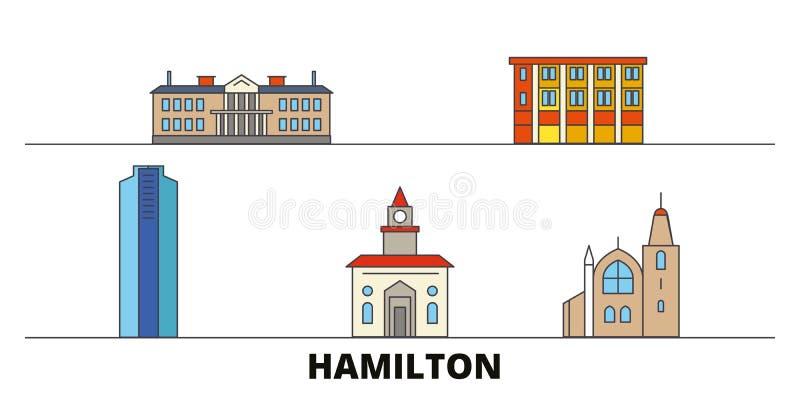 Vlakke de oriëntatiepunten vectorillustratie van Canada, Hamilton De lijnstad van Canada, Hamilton met beroemde reisgezichten, ho vector illustratie