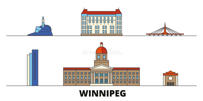 Vlakke de oriëntatiepunten vectorillustratie van Canada, Winnipeg De lijnstad van Canada, Winnipeg met beroemde reisgezichten, ho stock illustratie