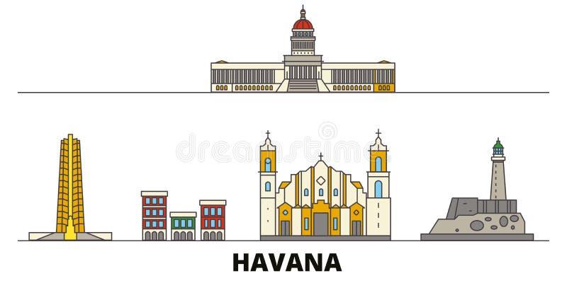 Vlakke de oriëntatiepunten vectorillustratie van Cuba, Havana De lijnstad van Cuba, Havana met beroemde reisgezichten, horizon, o stock illustratie