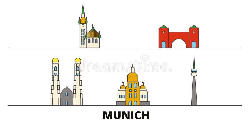 Vlakke de oriëntatiepunten vectorillustratie van Duitsland, München De lijnstad van Duitsland, München met beroemde reisgezichten royalty-vrije illustratie