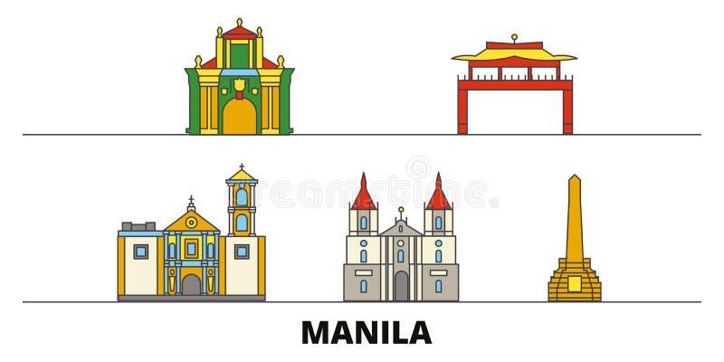 Vlakke de oriëntatiepunten vectorillustratie van Filippijnen, Manilla De lijnstad van Filippijnen, Manilla met beroemde reisgezic royalty-vrije illustratie