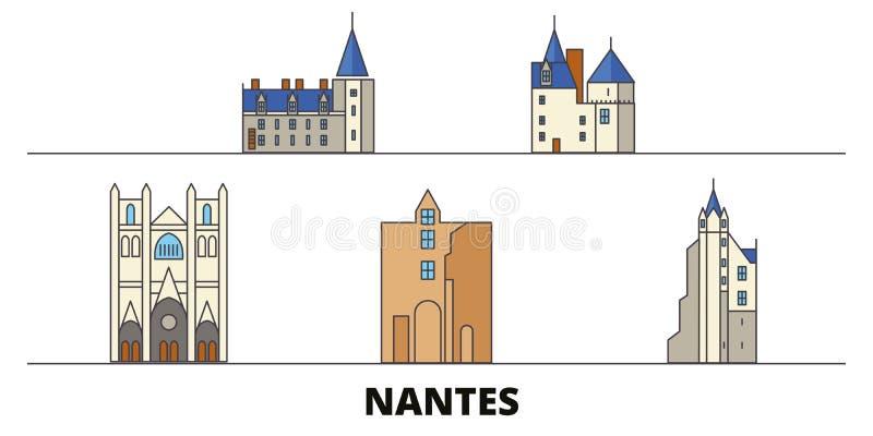 Vlakke de oriëntatiepunten vectorillustratie van Frankrijk, Nantes De lijnstad van Frankrijk, Nantes met beroemde reisgezichten,  vector illustratie